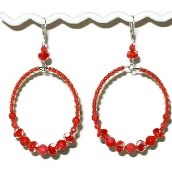 Large Coral and Clear Beaded Hoop Earrings with Semi-Precious Beads