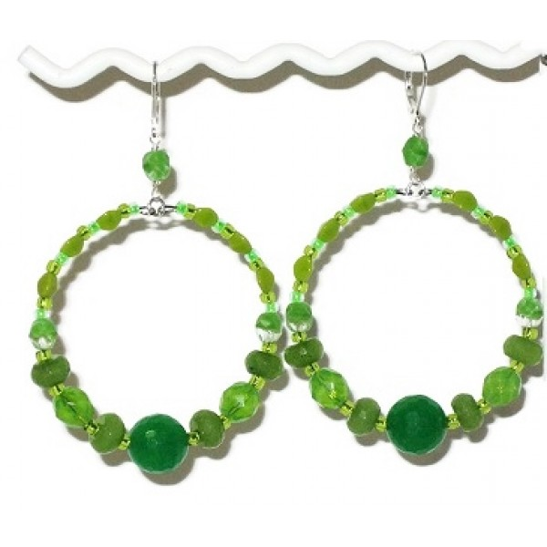 Large Lime, Olive and Apple Green Hoop Earrings