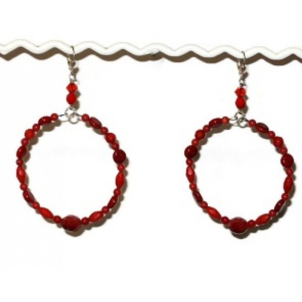 Large Red Hoop Earrings with Semi-Precious Beads