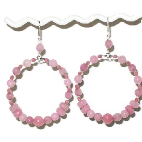 Large Pink Semi-Precious Beaded Hoop Earrings