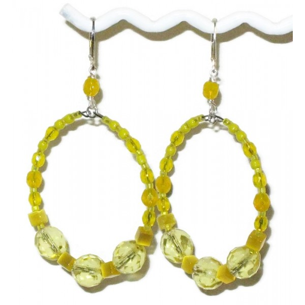 Large Yellow Hoop Earrings