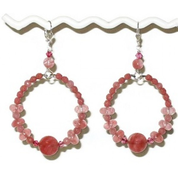 Pink Cherry Quartz Hoop Earrings