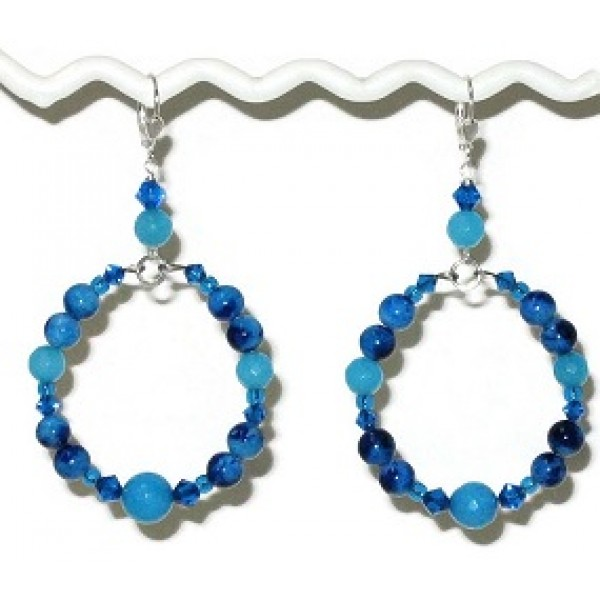 Sapphire Capri Blue and Turquoise Hoop Earrings with Semi-Precious Beads