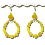 Yellow Flower Hoop Earrings with Semi-Precious Beads