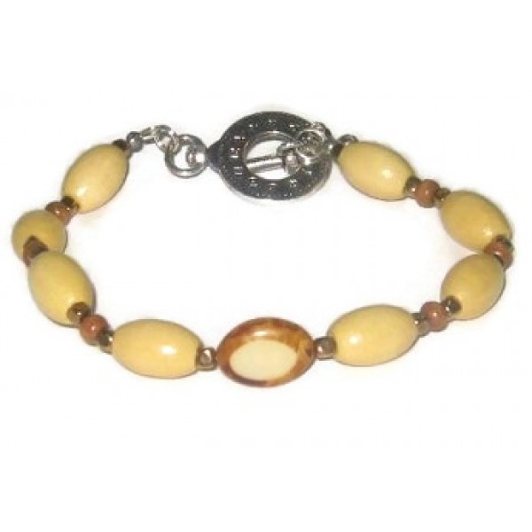 Beige Brown and Metallic Men's Bracelet