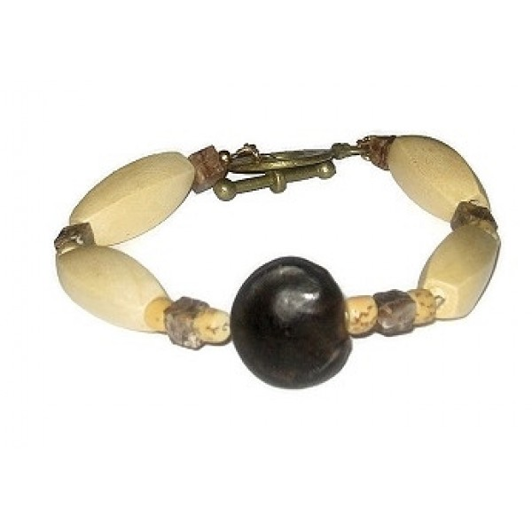 Dark Brown and Beige Men's Bracelet with Nutshell Focal Bead