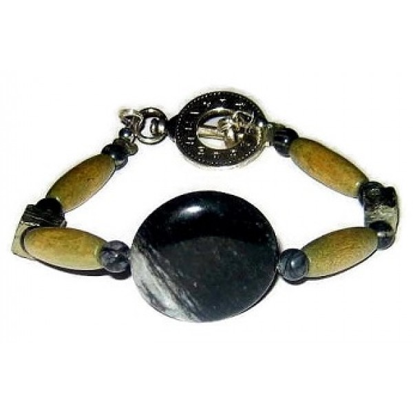 Olive Green, Black, Metallic and Gray Men's Bracelet
