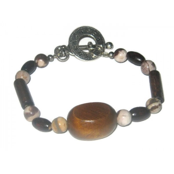 Dark Brown, Cream and Beige Men's Bracelet
