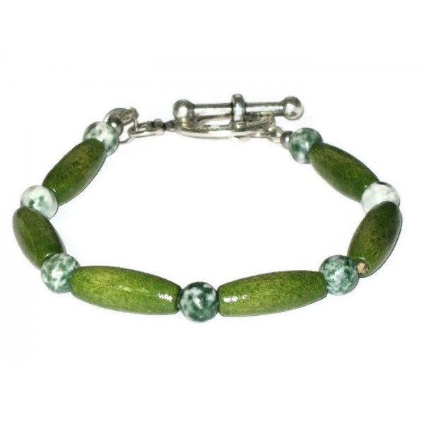 Olive Green, White and Forrest Green Wood and Agate Men's Bracelet