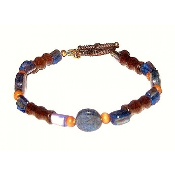 Navy Blue and Brown Men's Bracelet with Nugget Shell Beads