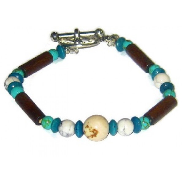 Cream, Beige, Brown, Teal & Aqua Men's Bracelet