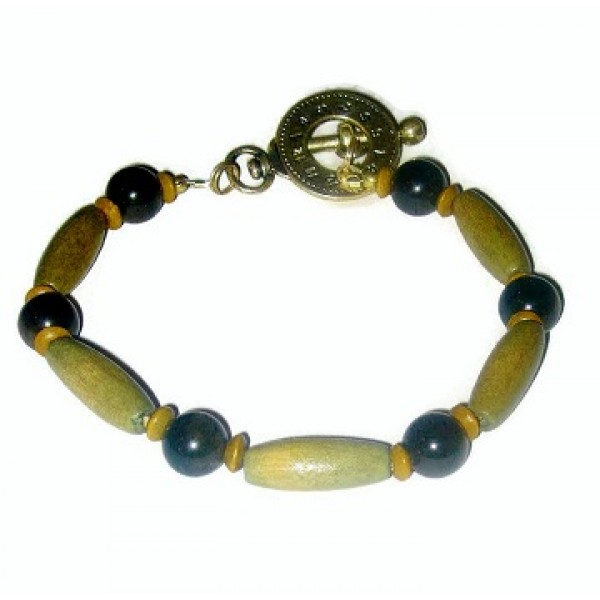 Khaki and Olive Green Men's Beaded Bracelet