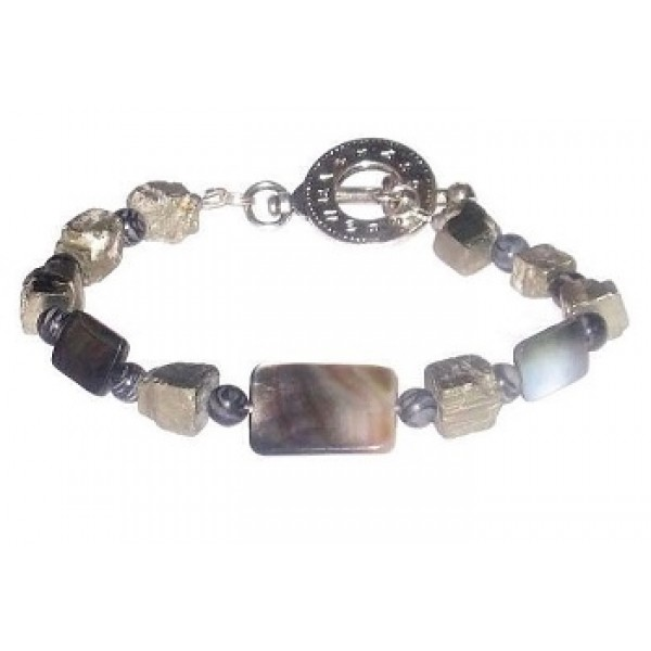 Gray, Black and Metallic Men's Bracelet