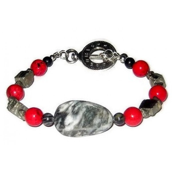 Gray, Black, Metallic and Red Men's Bracelet
