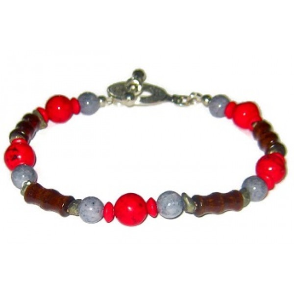 Red, Brown, Gray and Metallic Men's Bracelet