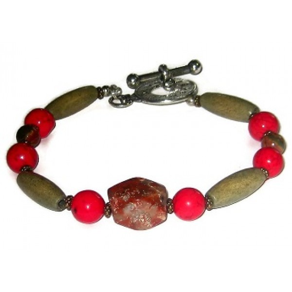 Red, Rust Orange and Olive Green Men's Bracelet