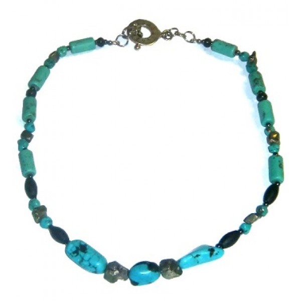 Black, Turquoise, and Metallic Men's Necklace