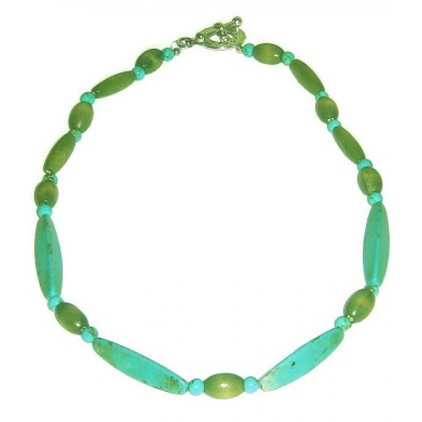 Aqua and Olive Green Men's Necklace