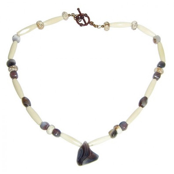 Off-White Men's Necklace with Botswana Agate