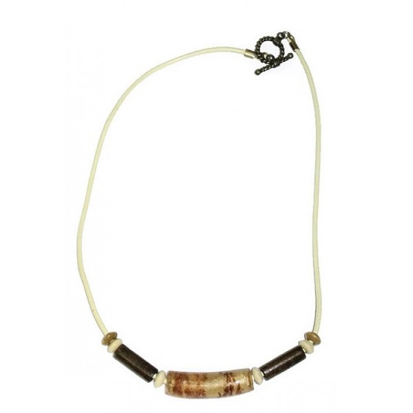 Men's Off-White Leather Cord Necklace with Brown and Beige Beads