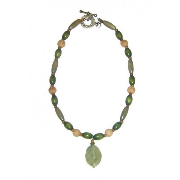 Olive Green, Beige and Brown Men's Beaded Necklace