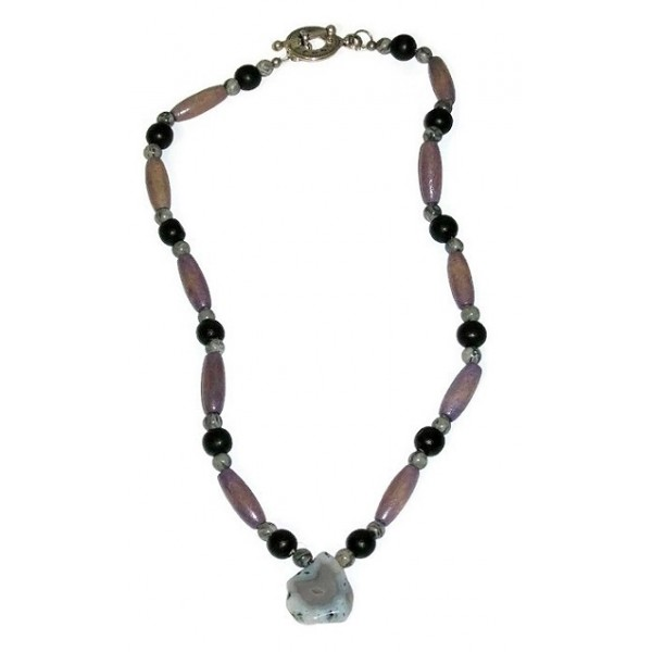 Men's Grey, Black and Greyish Purple Beaded Necklace