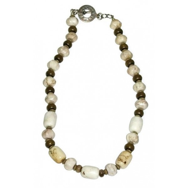 Off White, Beige and Khaki Men's Beaded Necklaces