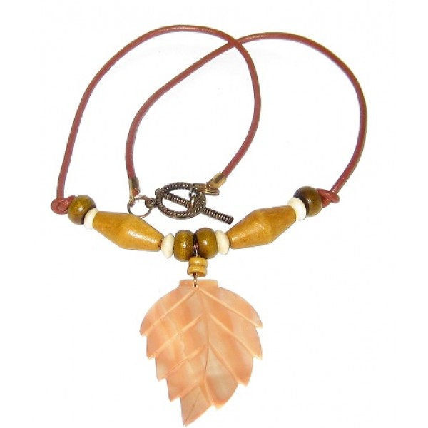Men's Brown Leather Cord Necklace with Wood Beads and Leaf Pendant