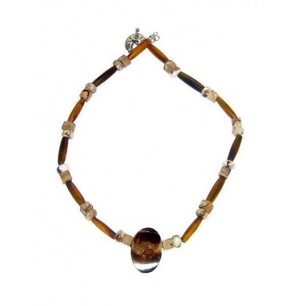 Brown and Beige Men's Necklace with Horn Pipe, Magnesite and Jasper Beads