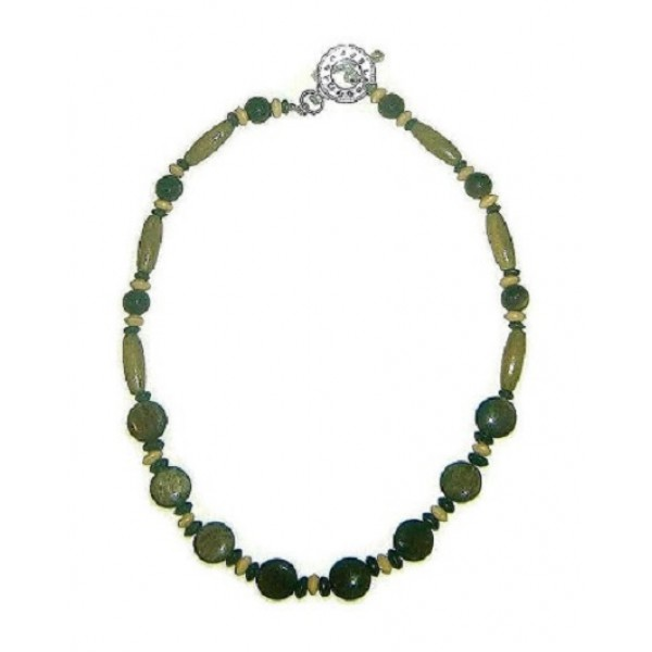 Olive, Beige, Khaki, and Navy Men's Beaded Necklace