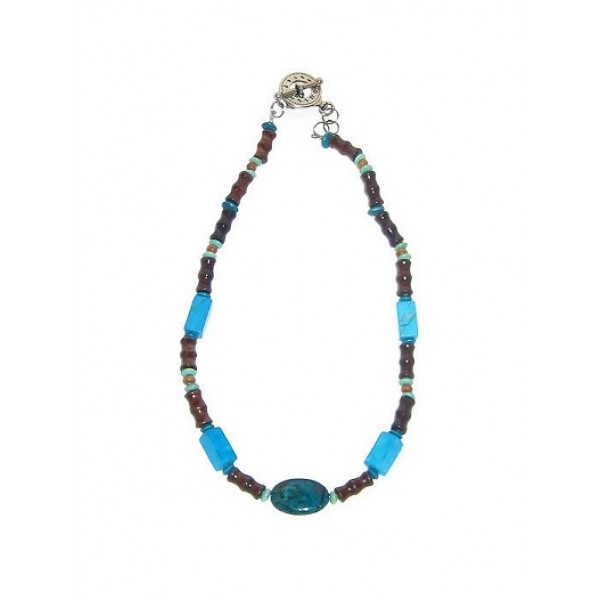 Turquoise and Brown Men's Beaded Necklace