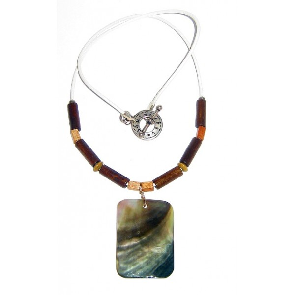 White Leather Cord Men's Necklace with Wood Beads & Rectangle Shell Pendant