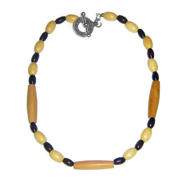 Beige, Dark Brown and Tan Men's Beaded Necklace