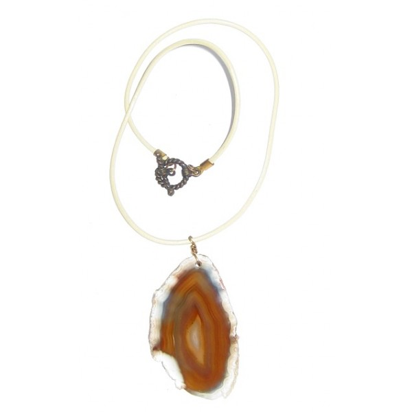 Men's Off White Leather Cord Necklace with Agate Pendant
