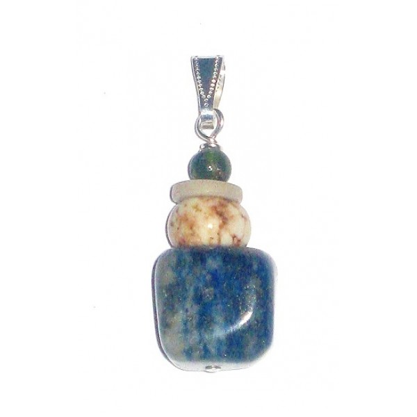 Blue, Grey, Off-White and Blue Sodalite and Magnesite Men's Pendant
