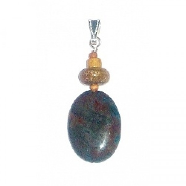Brown, Deep Turquoise and Beige Men's Pendant