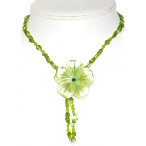 Apple and Lime Green Necklace with Mother-of-Pearl Flower Pendant