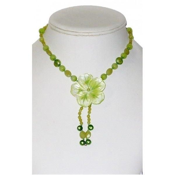 Apple and Yellow Green Necklace with Flower Shell Pendant