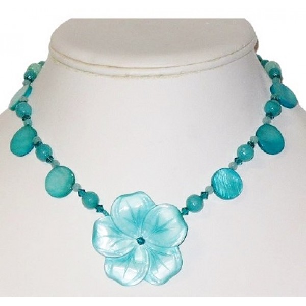 Aqua and Teal Necklace with Mother-of-Pearl Flower Pendant