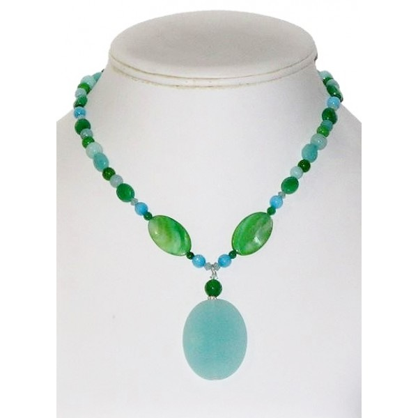 Aqua, Green  And Deep Sky Blue Necklace with Drop Pendant