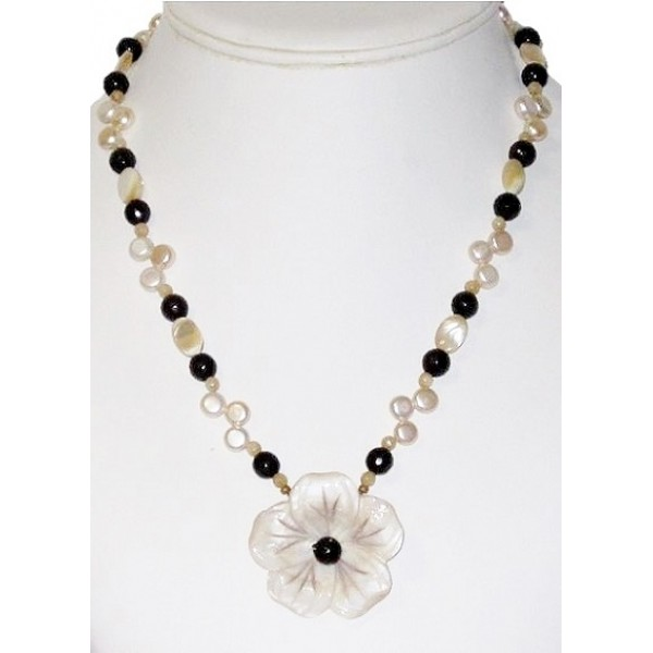 Beige and Brown Beaded Necklace with Mother-of-Pearl Flower Pendant