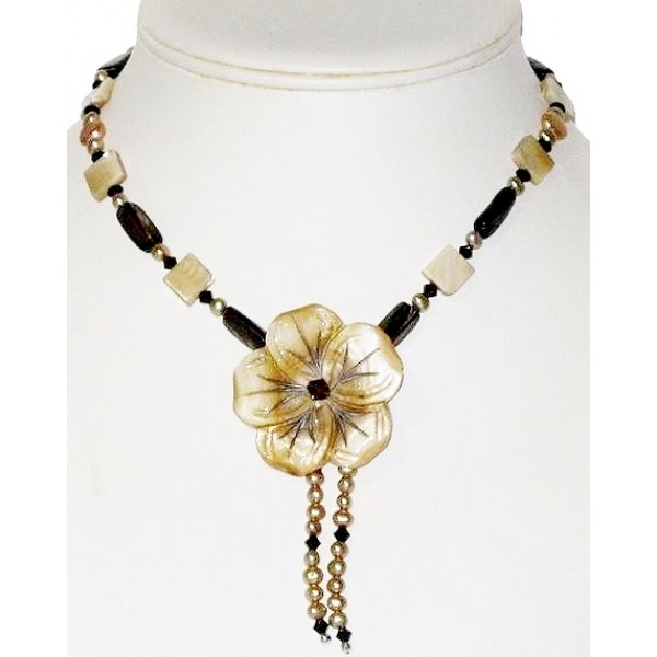Beige and Brown Necklace with Flower Pendant