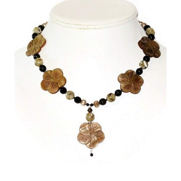 Beige and Brown Flower Necklace