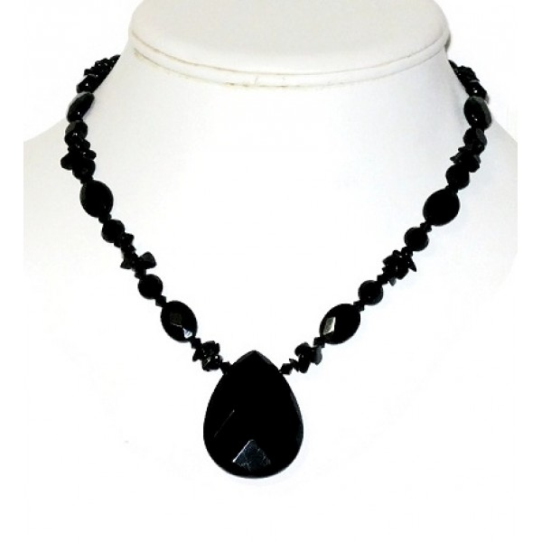 Black Onyx Necklace with Briolette Pendant