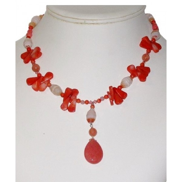 Coral, Peach and Cream Necklace with Drop Pendant
