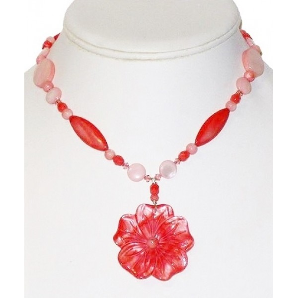 Coral and Pink Necklace with Mother-of-Pearl Flower Pendant