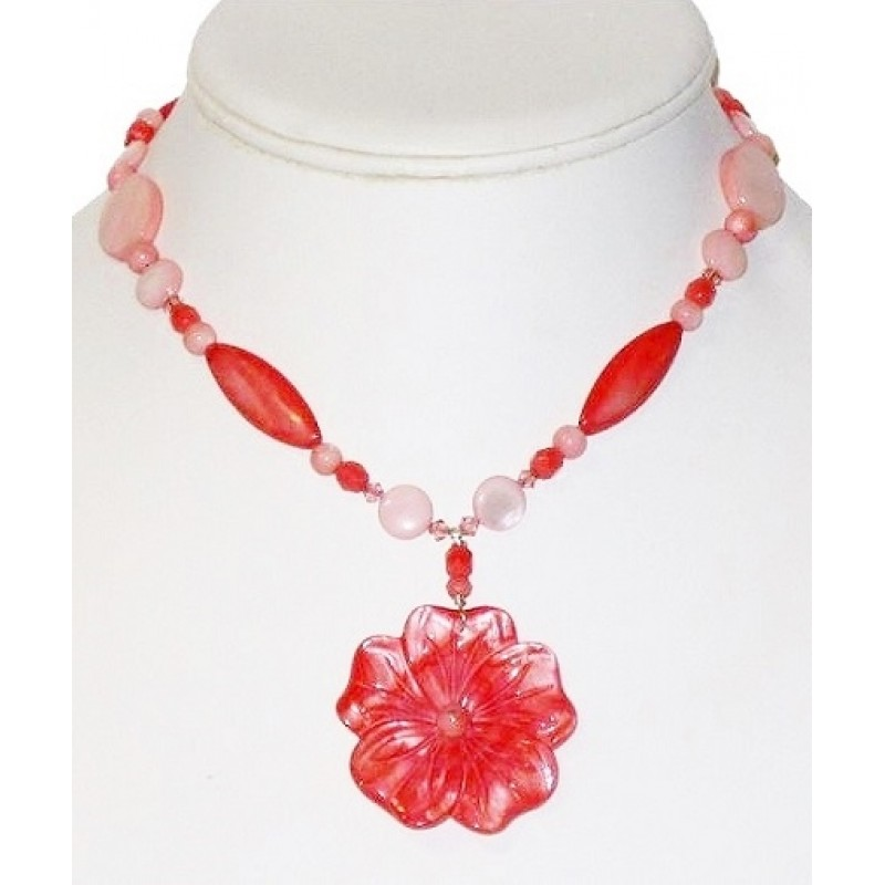 Coral pink flower necklace coral and pink necklace with mother of pearl flower pendant mightylinksfo