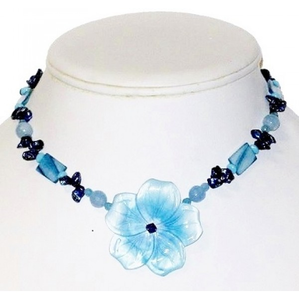 Blue Blend Necklace with Mother-of-Pearl Flower Pendant