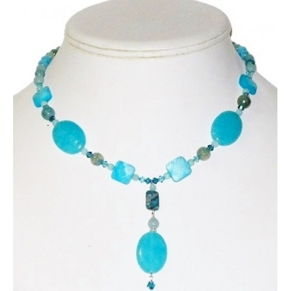 Island Blue Turquoise and Teal Necklace with Drop Pendant
