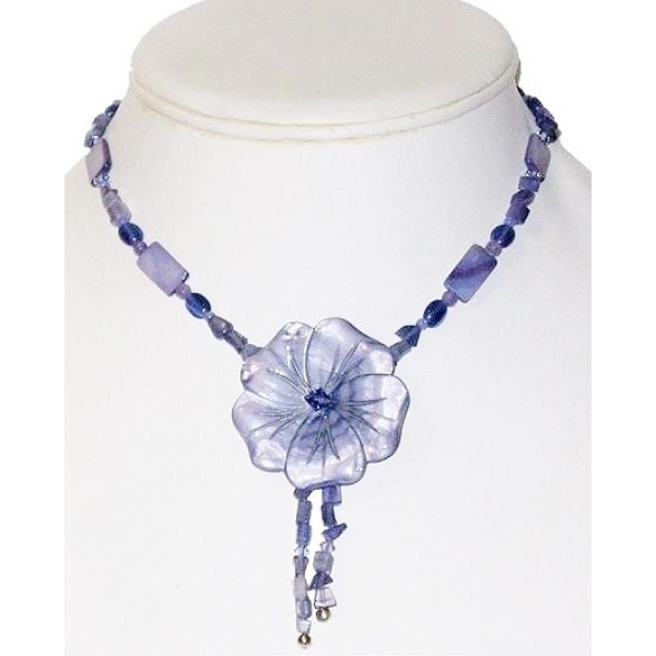 Lavender Blue Necklace with Mother-of-Pearl Flower Pendant